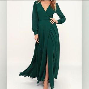 Dark green wrap dress